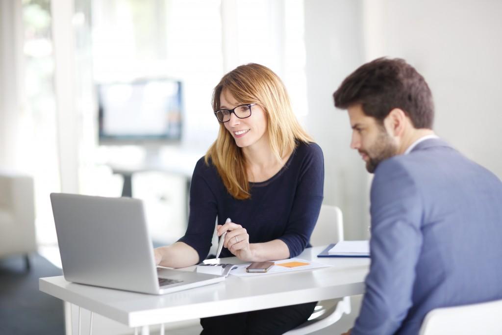Entrepreneur with a client