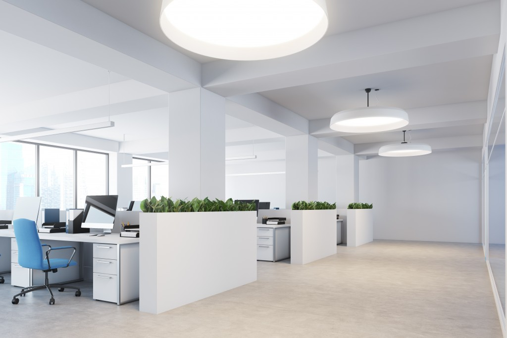 white themed office interior