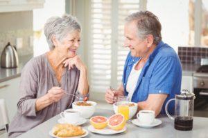 senior couple having breakfast