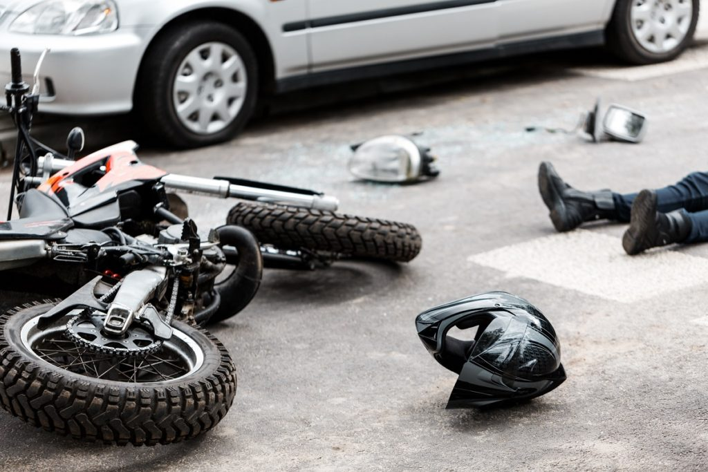 motorcycle in an accident