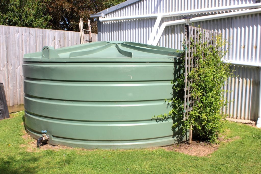 green fuel tank at the backyard
