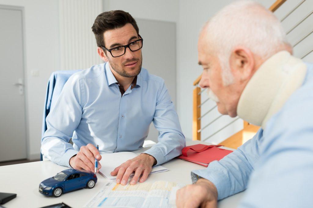 injured old man filing a lawsuit
