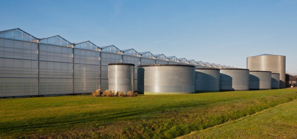 fuel tanks across the lawn