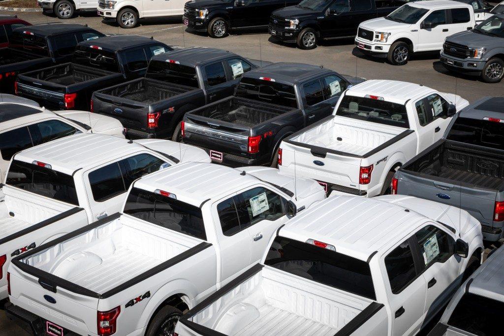 Pickup trucks in car sale