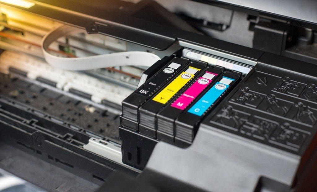 ink cartridges on a printer