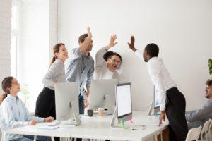 office employees celebrating