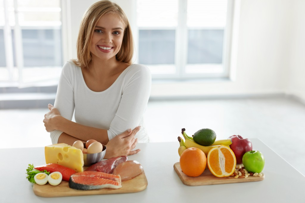 woman preparing a balanced meal