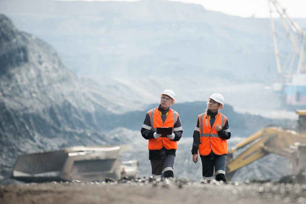 Employees in a mining site