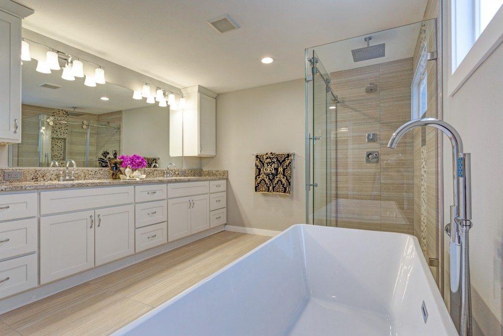 clean wide bathroom