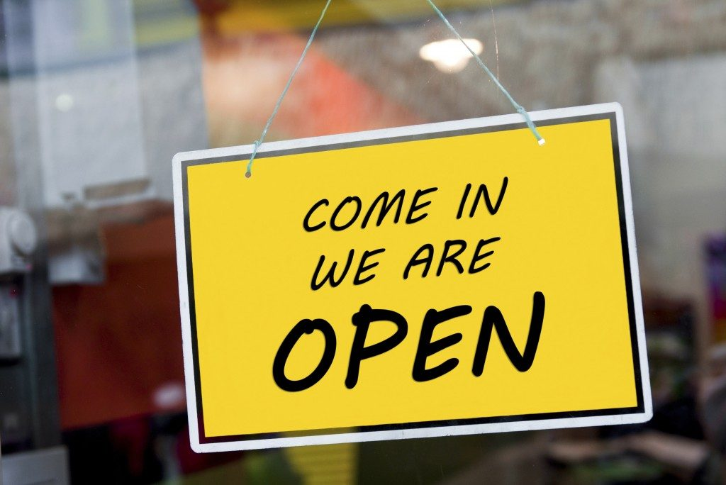 'Open' sign at a store