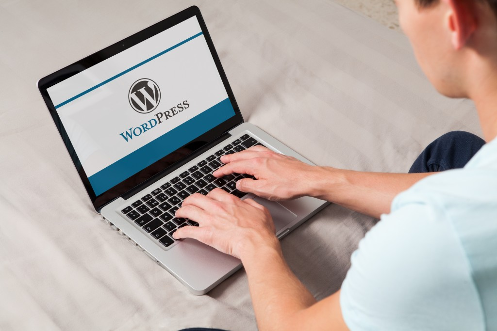 man logging in in wordpress