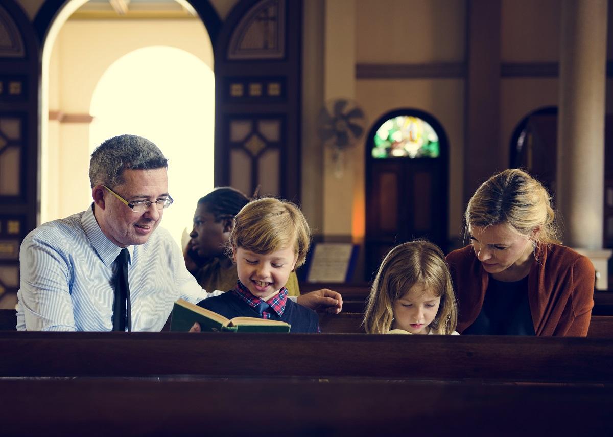family inside the church