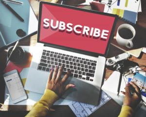 Subscribing to email marketing concept