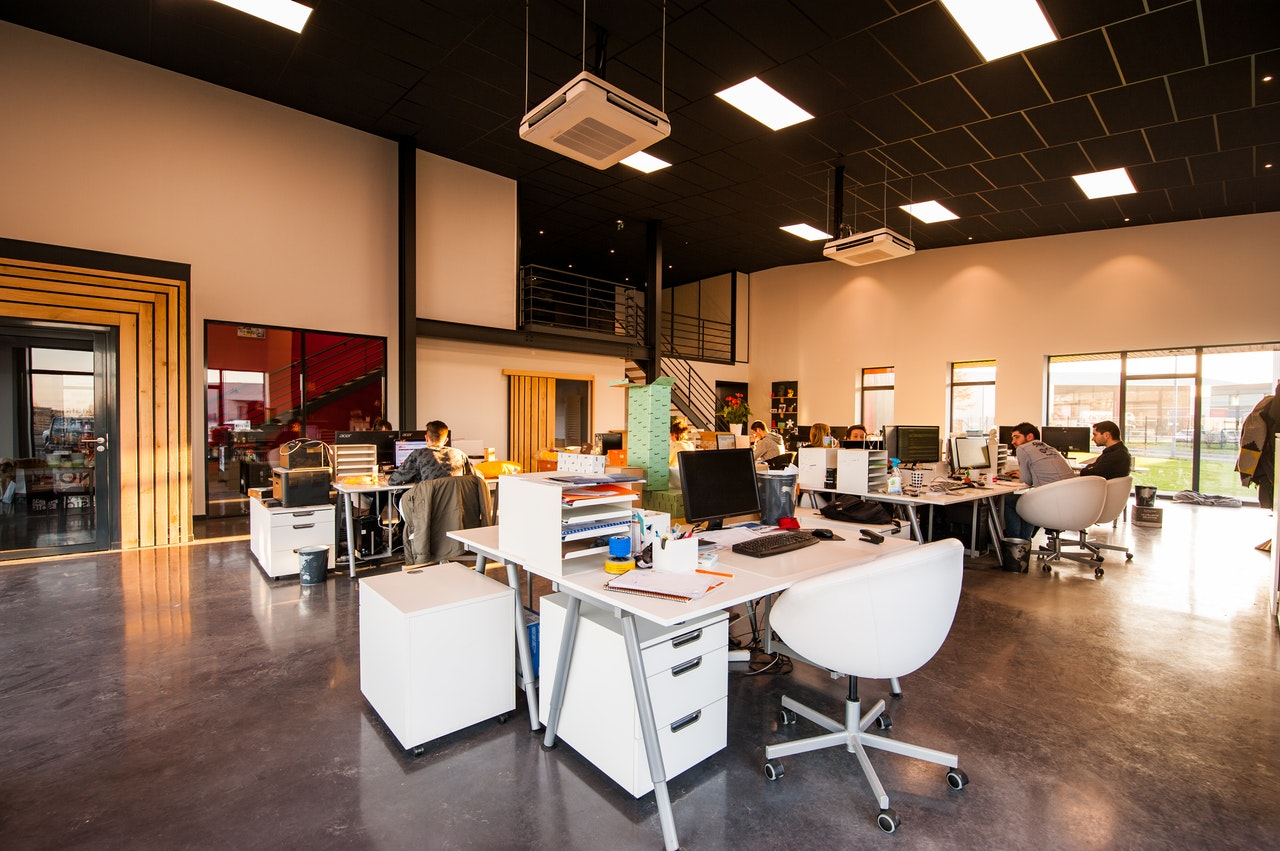 an open floor workplace