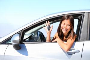 woman inside a car
