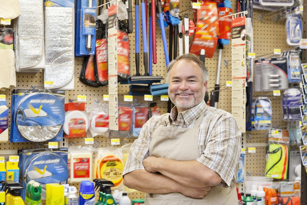 store owner smiling