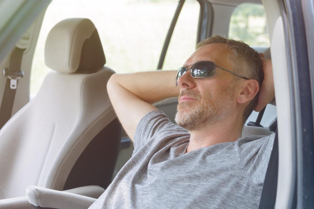 man on a road trip