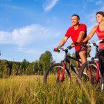 couple riding their bikes